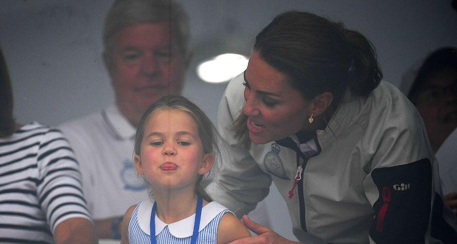 Princess Charlotte sticks her tongue out at waving crowds