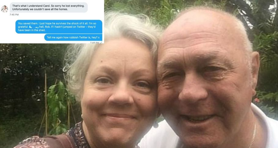 How a tweet saved the life of pensioners trapped in steel shed during bushfire