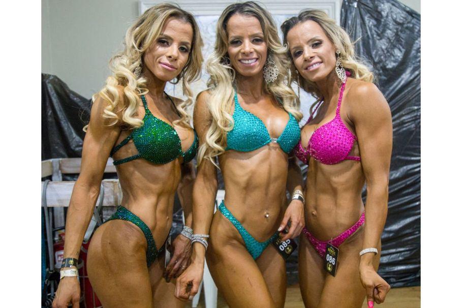 Bodybuilding triplets face off