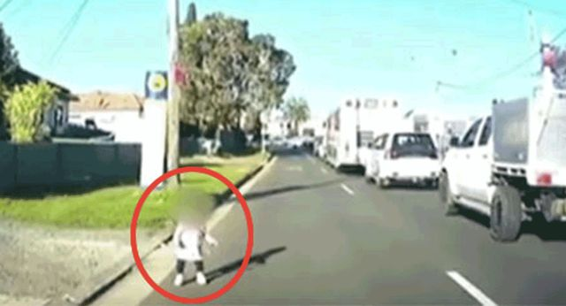 Toddler saved from busy road by quick-thinking motorist