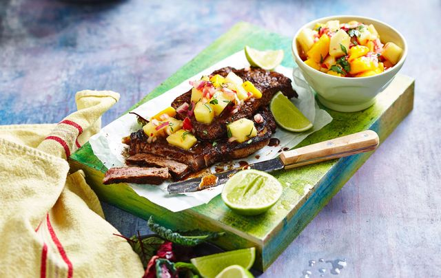 Coffee Rubbed Steaks With Fruity Salsa
