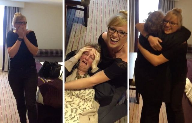 Sister catches the moment mum FAINTS after daughter's surprise reunion from overseas